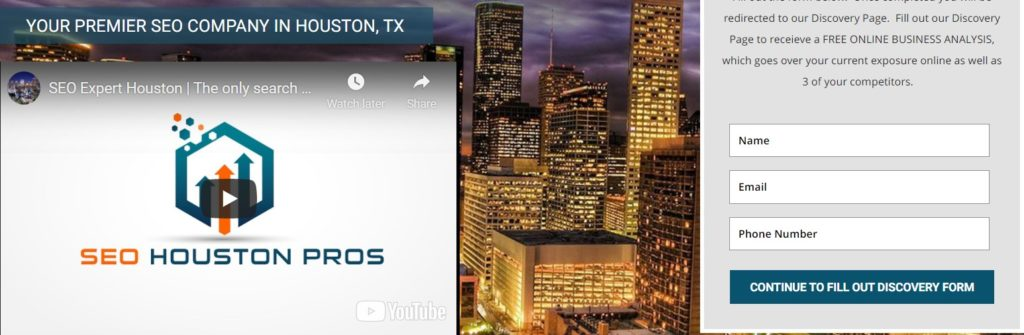 Homepage of SEO Houston pros https://seohoustonpros.com/