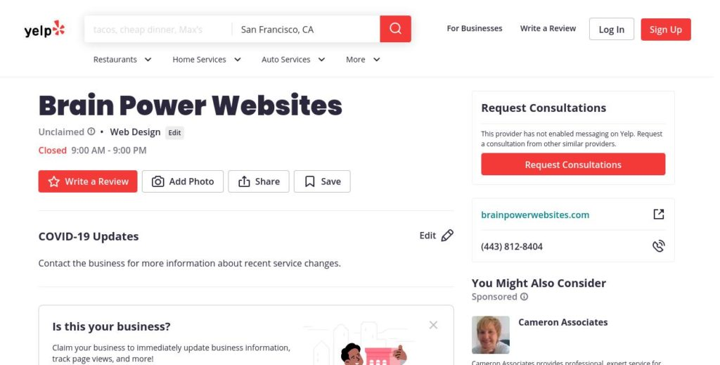 yelp search result for Brain Power Websites