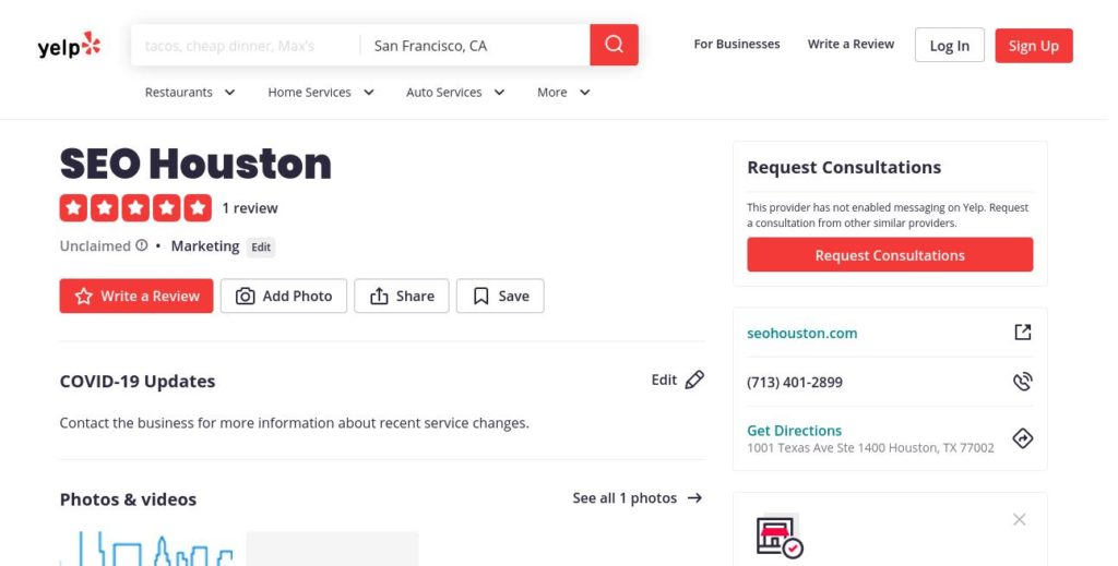 yelp search result for SEO Huston company
