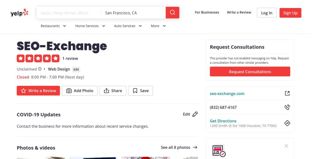 yelp search result for SEO-Exchange