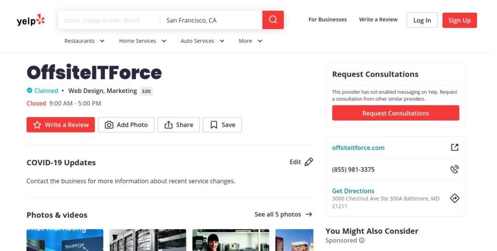 yelp search result for OffsiteITForce