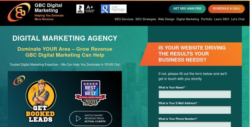 Homepage of GBC Digital Marketing https://gbcdigitalmarketing.com/