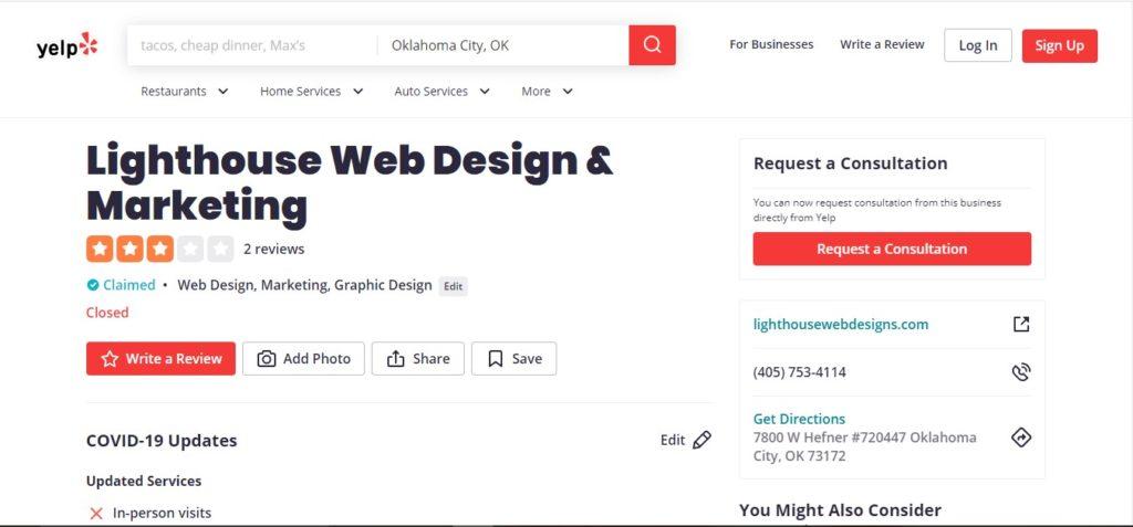 yelp for Lighthouse Web Design & Marketing