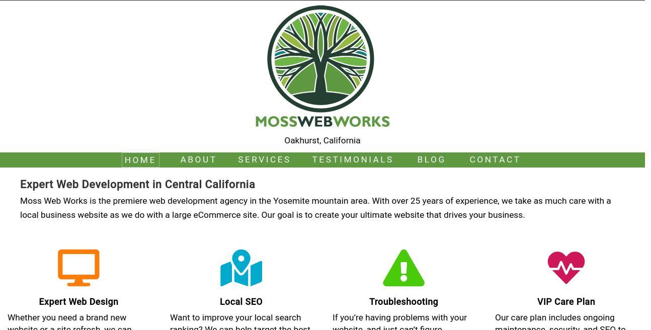 Moss Web Works website