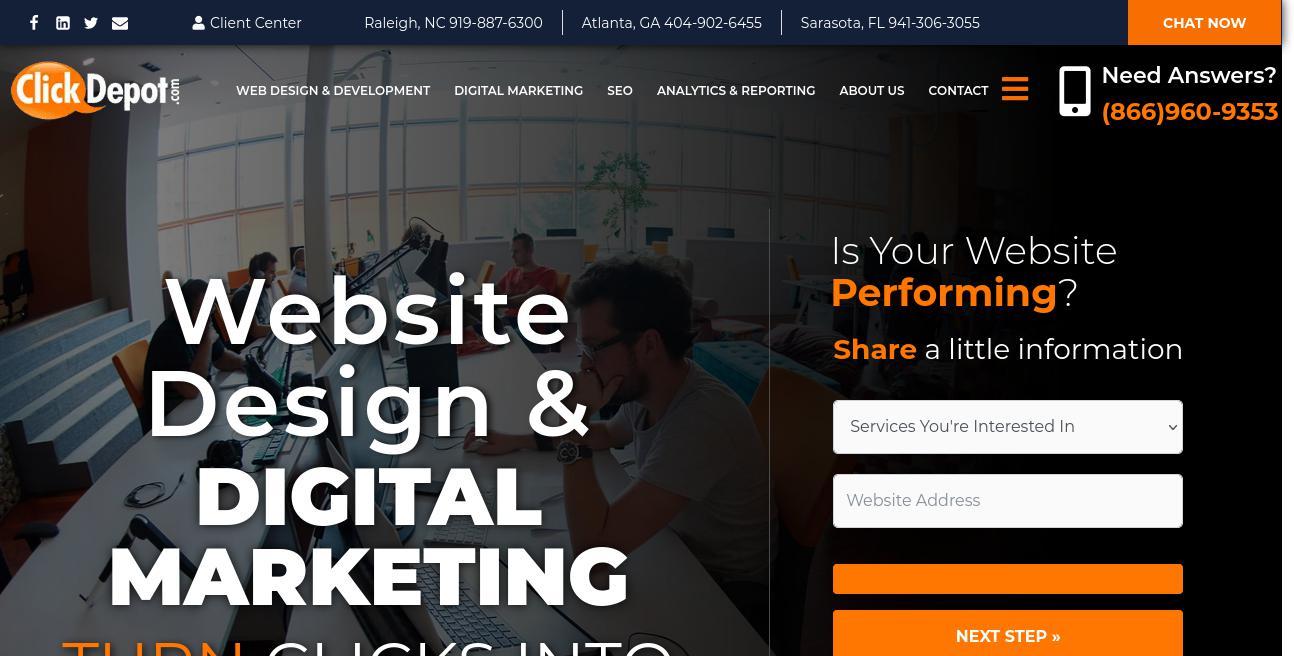 The Click Depot website