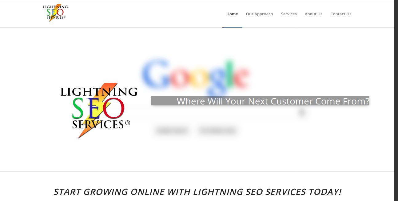Lightning SEO Services website