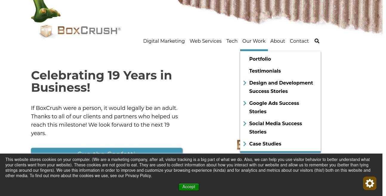 BoxCrush Web Design website