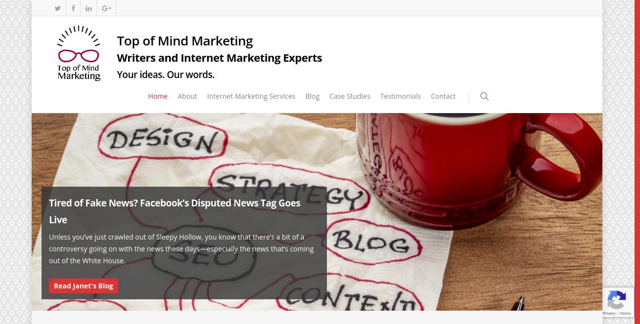 Top of Mind Marketing website