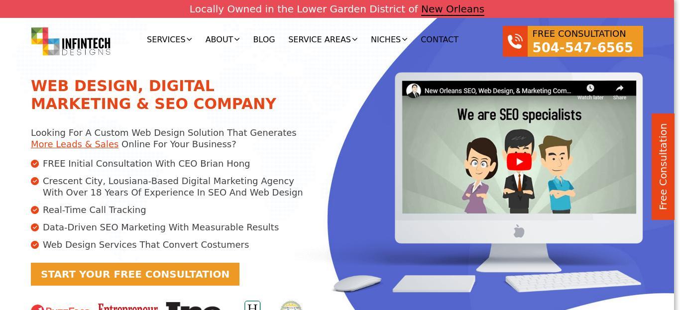 Infintech Designs website