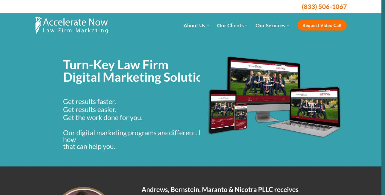 Accelerate Now Law Firm Marketing website