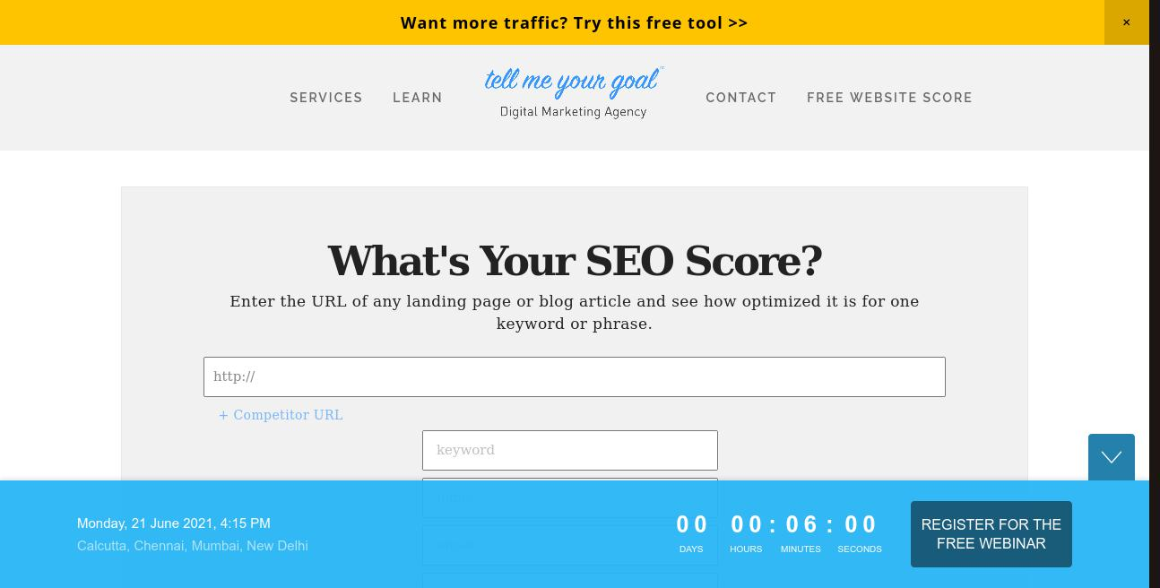 Tell Me Your Goal - SEO Agency website