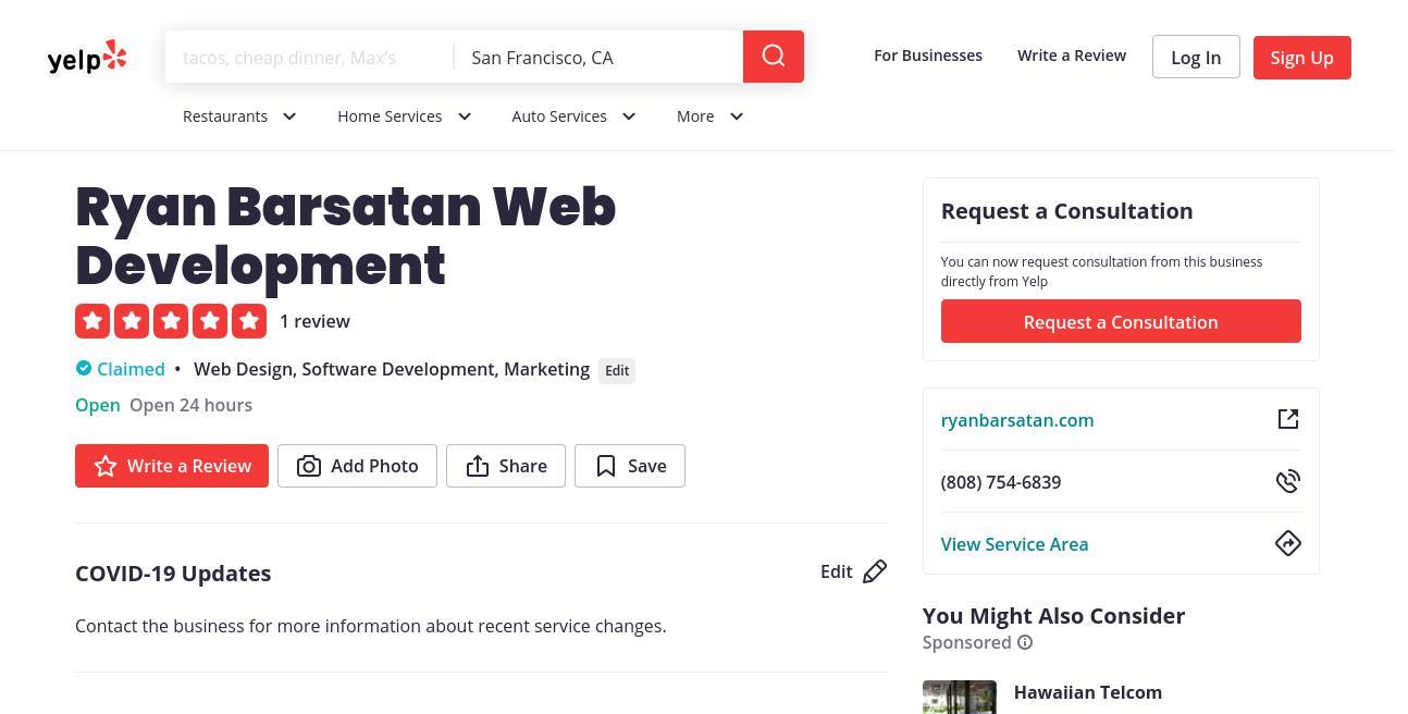 yelp Ryan Barsatan Web Development yelp