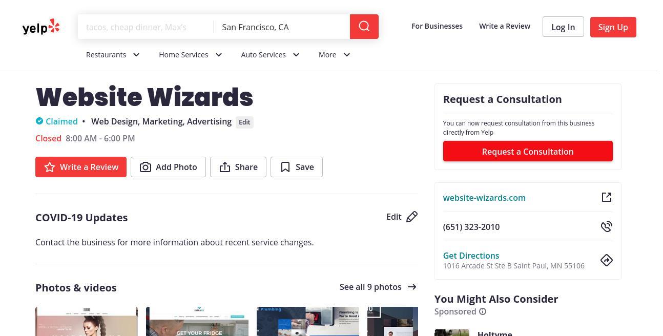 yelp Website Wizards yelp