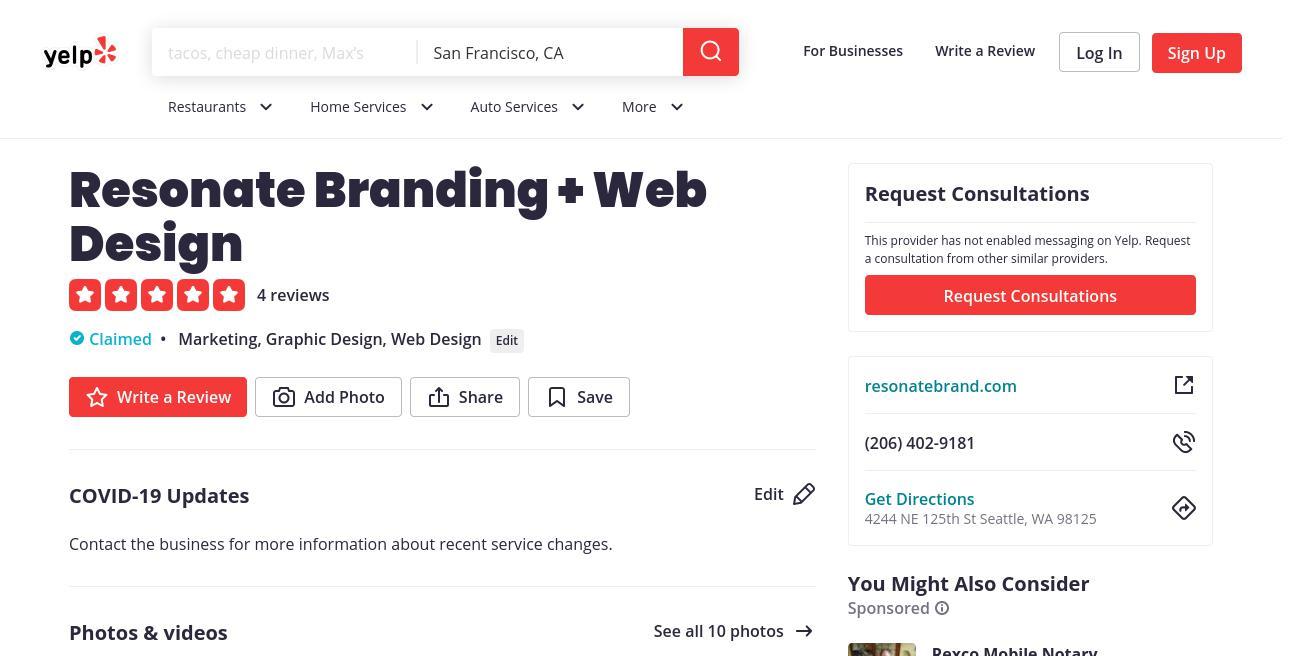 yelp Resonate Branding + Web Design yelp