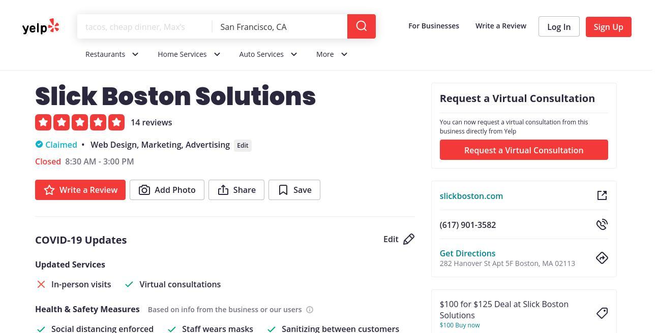 yelp Slick Boston Solutions yelp
