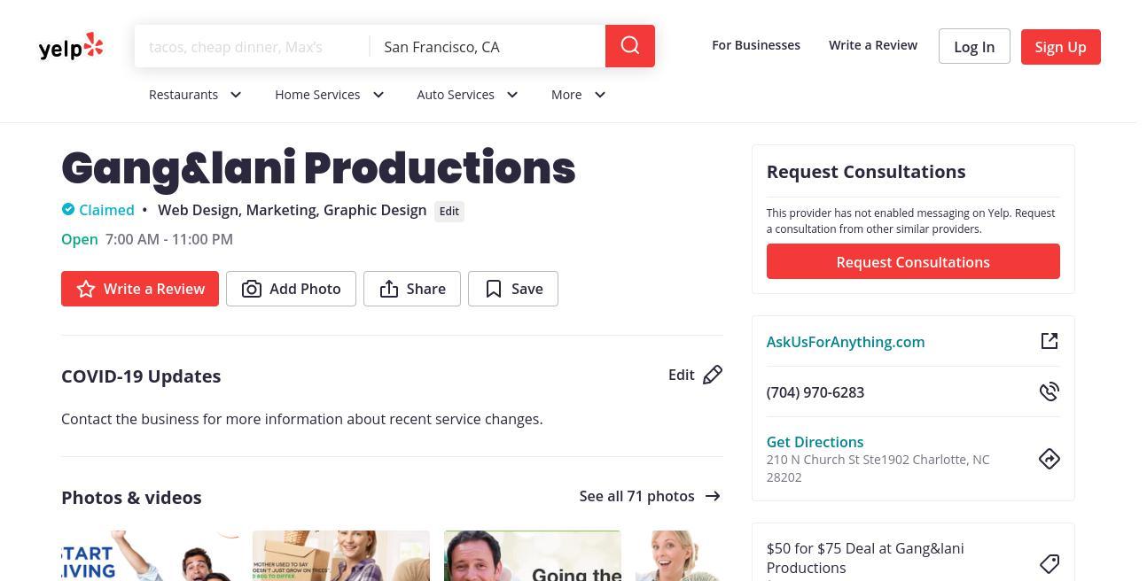 yelp Gang&lani Productions yelp