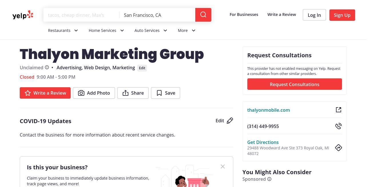 yelp Thalyon Marketing Group yelp
