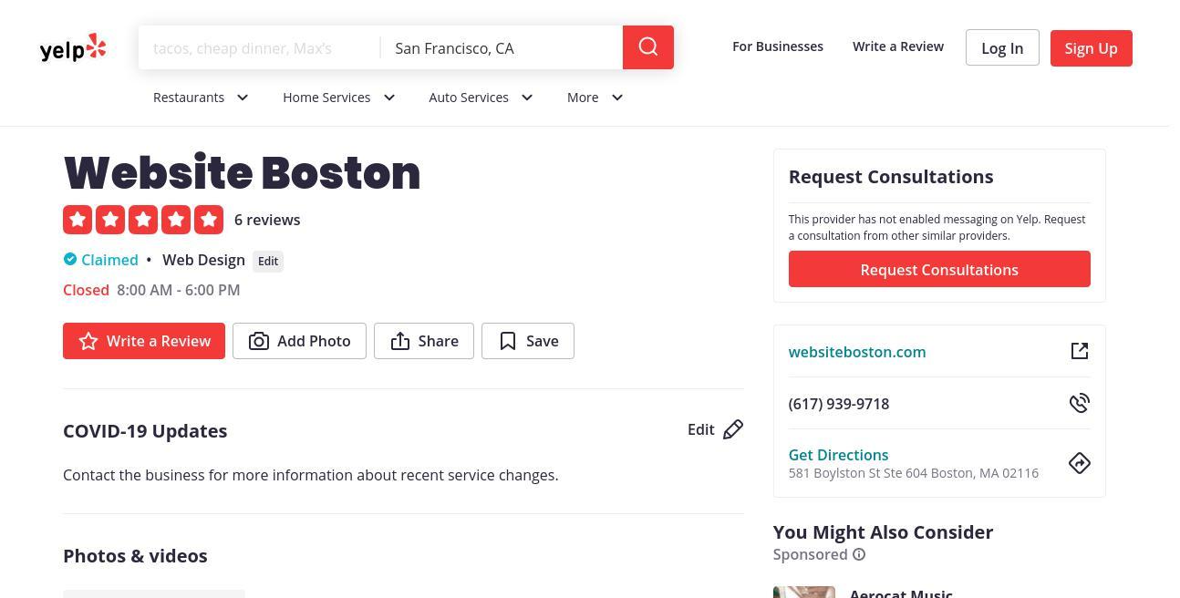 yelp Website Boston yelp