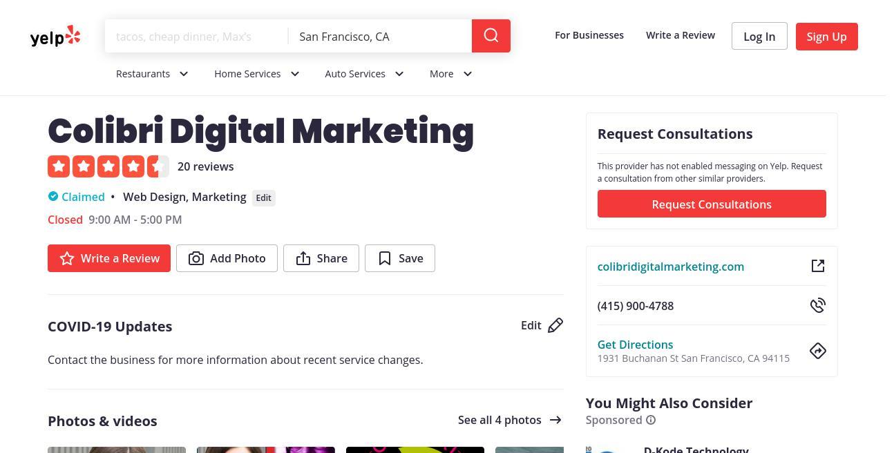 yelp Colibri Digital Marketing yelp