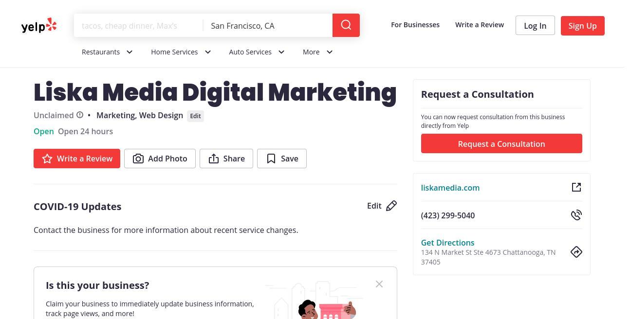 yelp Liska Media Digital Marketing yelp