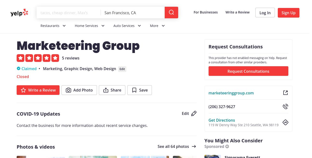 yelp Marketeering Group yelp