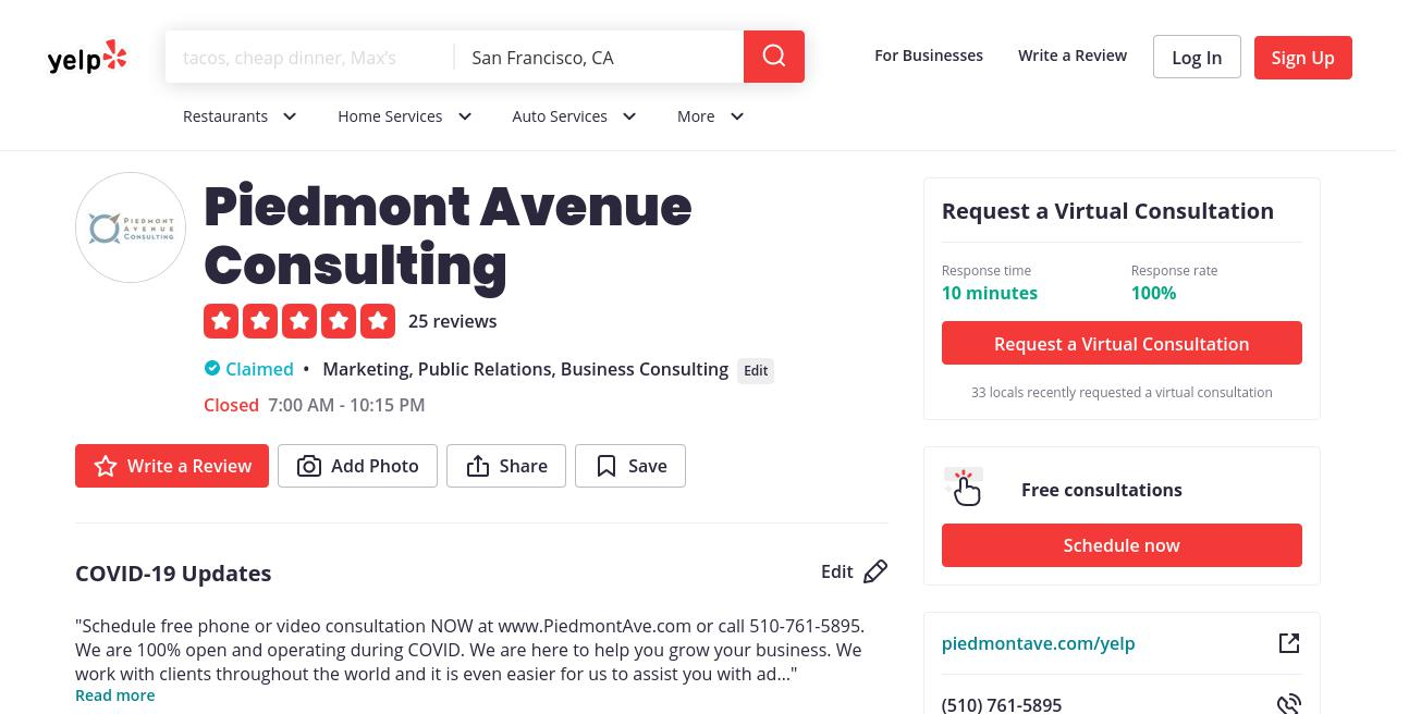 yelp Piedmont Avenue Consulting yelp