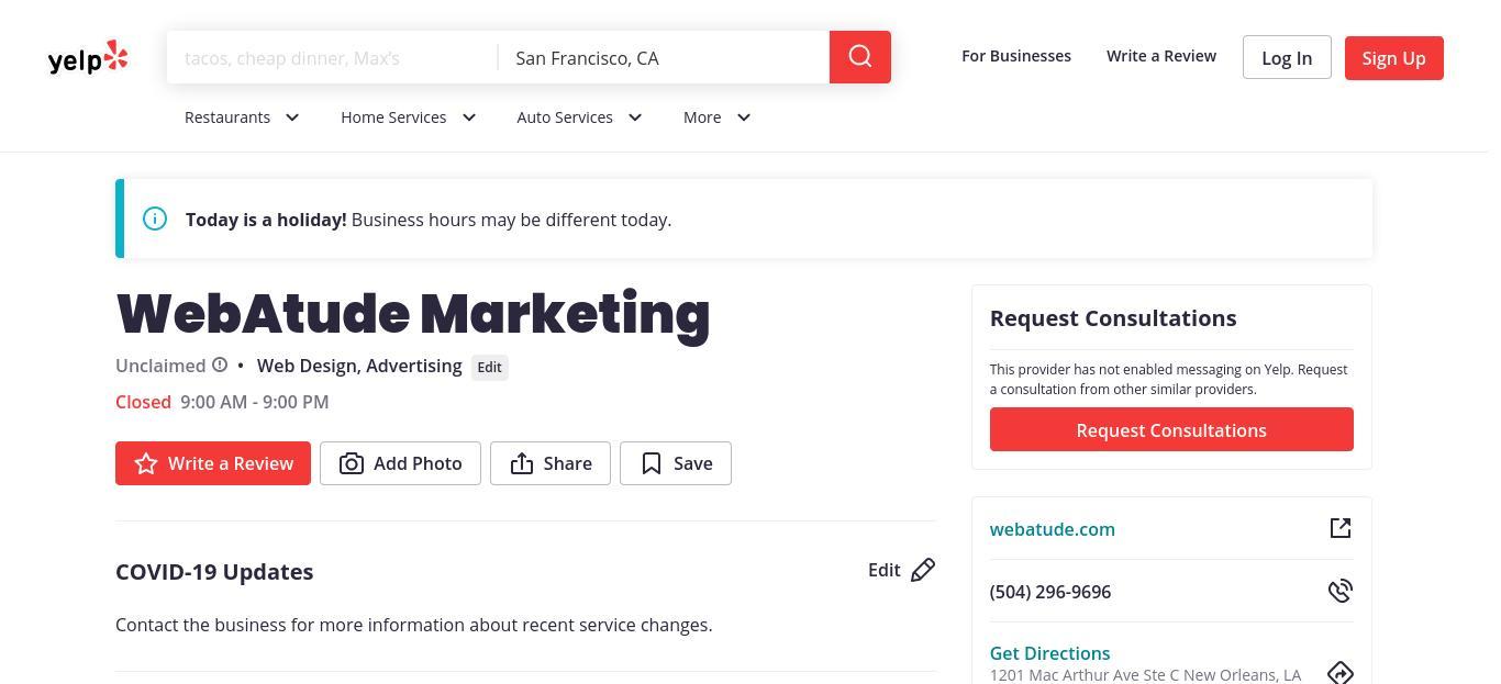 yelp WebAtude Marketing yelp