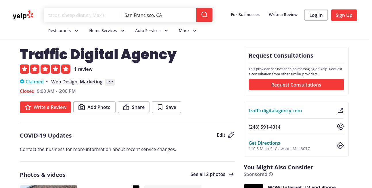 yelp Traffic Digital Agency yelp