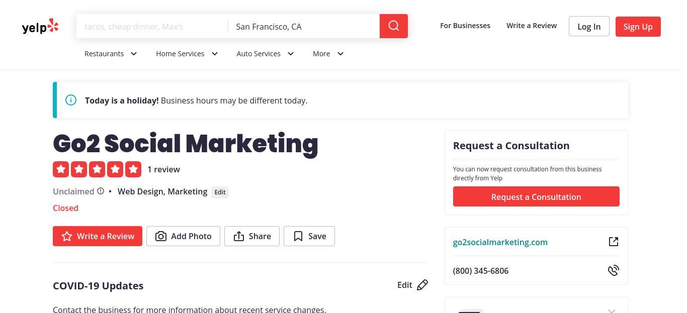 Go2 Social Marketing yelp profile