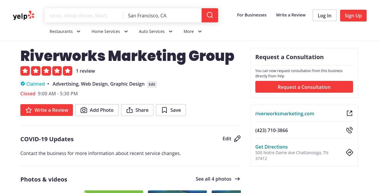 yelp Riverworks Marketing Group yelp