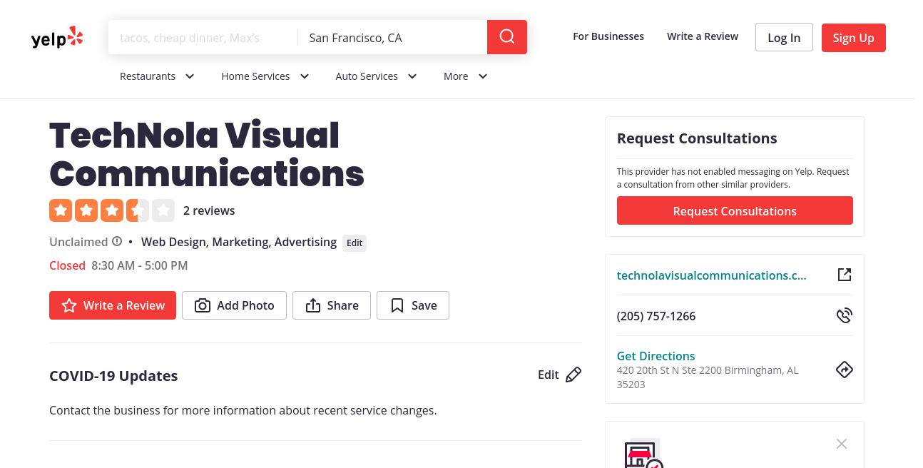 yelp TechNola Visual Communications yelp