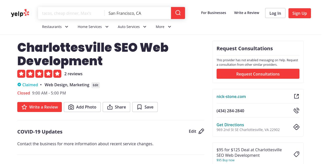 yelp Charlottesville SEO Web Development yelp