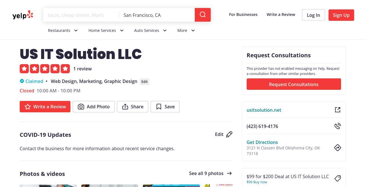 yelp US IT Solution LLC yelp