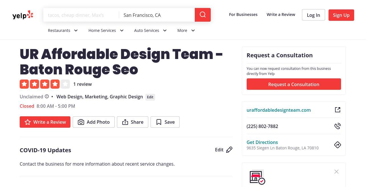 yelp UR Affordable Design Team - Baton Rouge Seo yelp