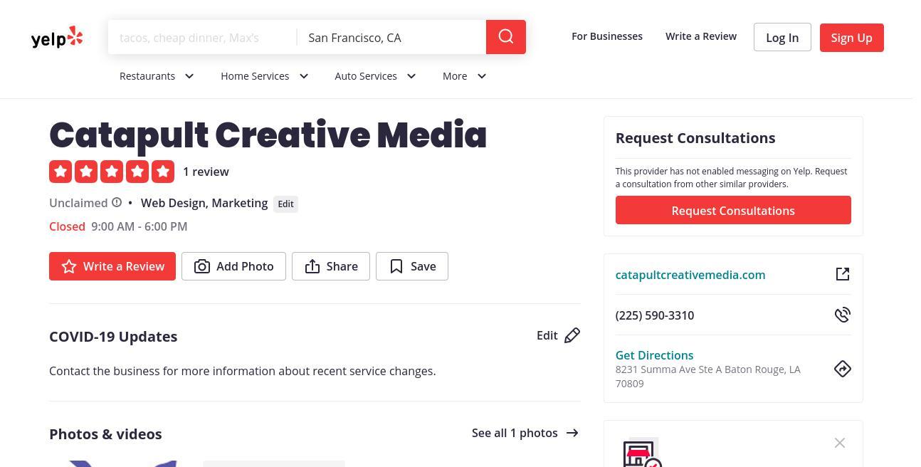 yelp Catapult Creative Media yelp