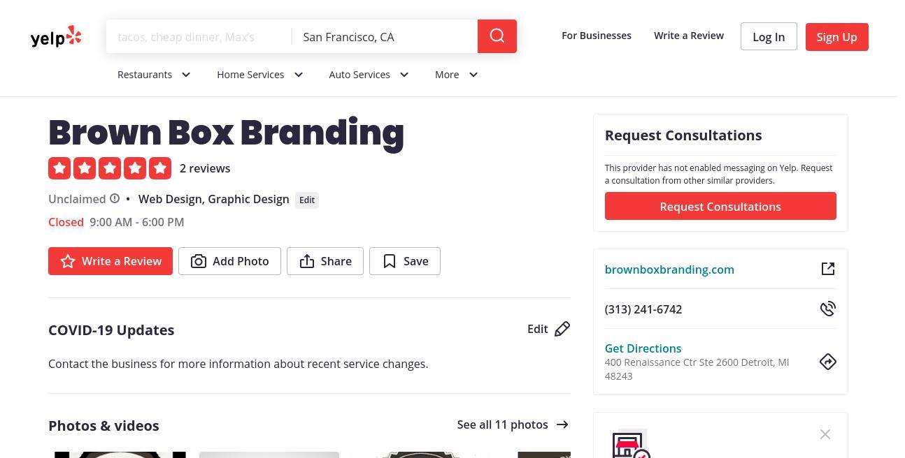 yelp Brown Box Branding yelp