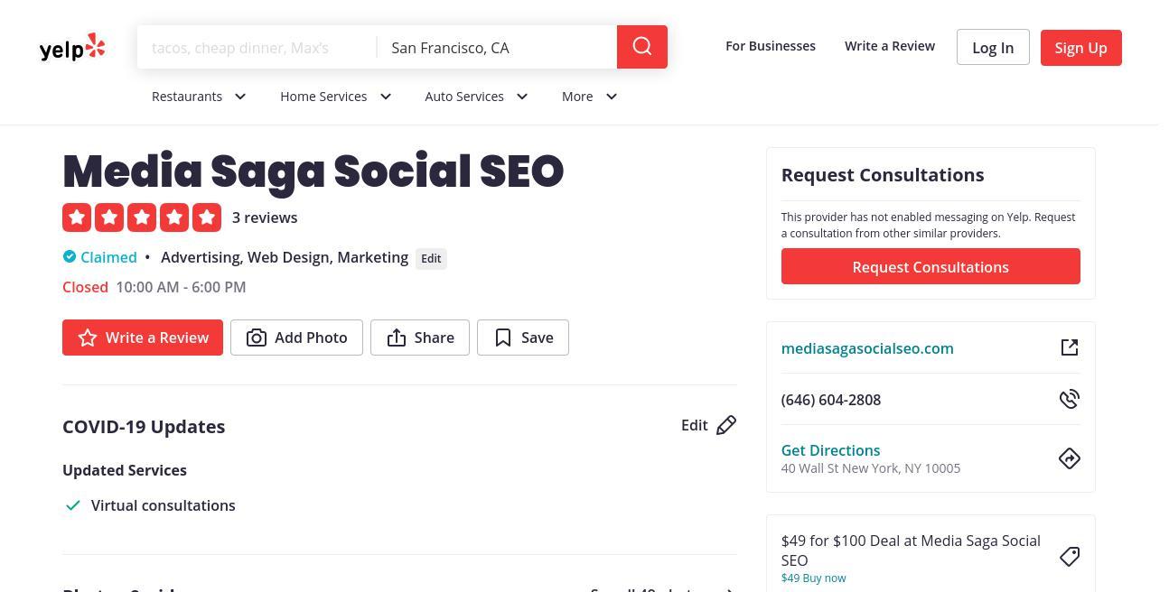 yelp Media Saga Social SEO yelp