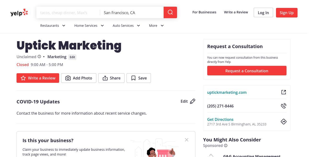 yelp Uptick Marketing yelp