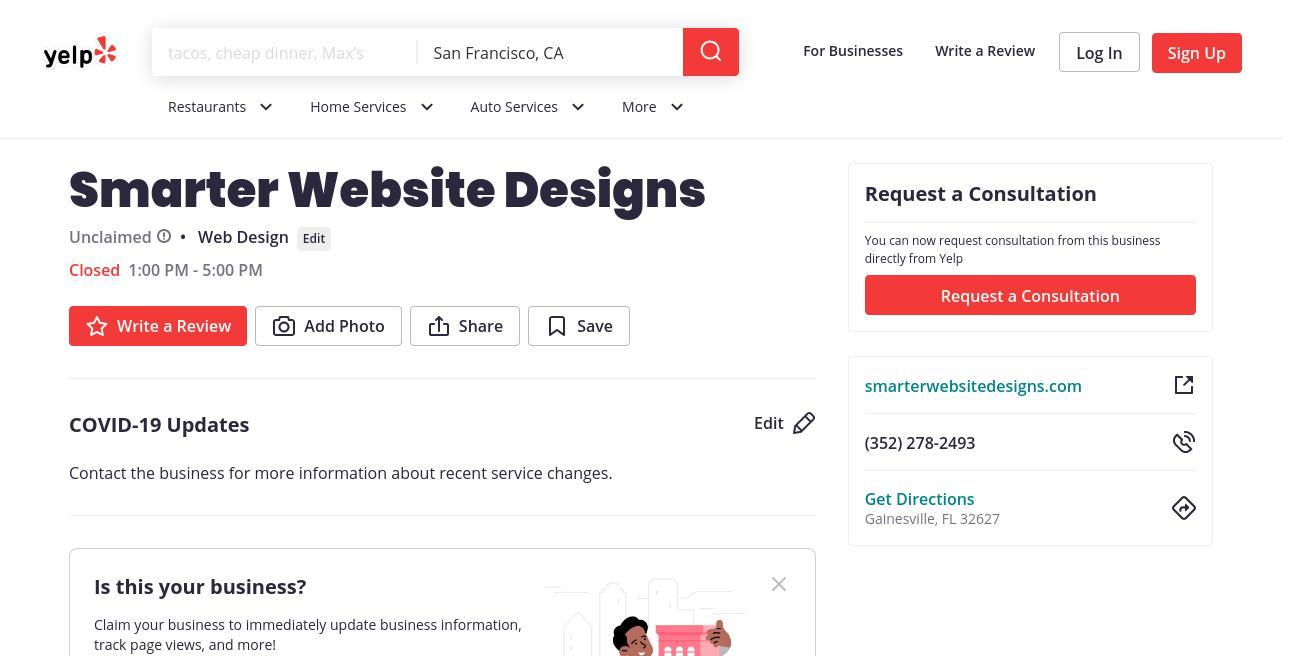 yelp Smarter Website Designs yelp