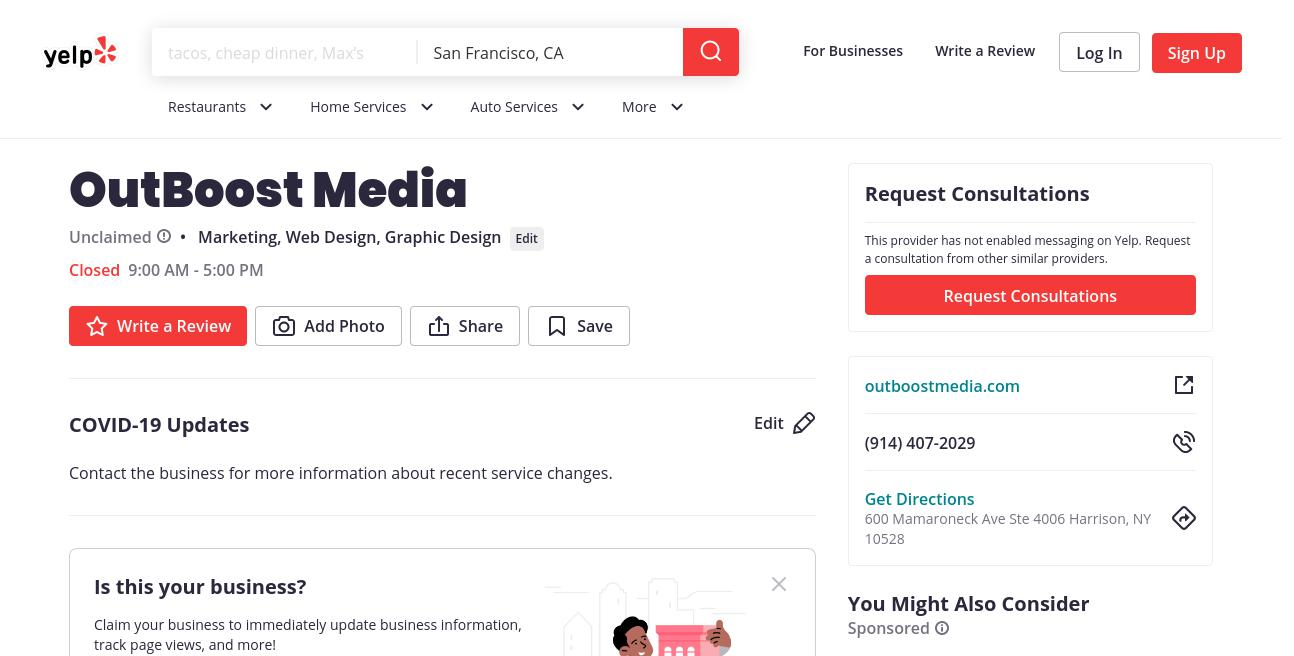 yelp OutBoost Media yelp