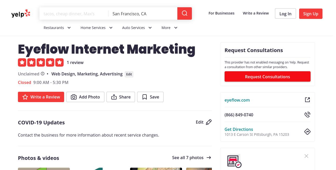 yelp Eyeflow Internet Marketing yelp