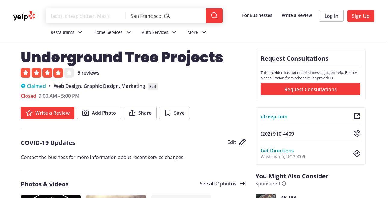 yelp Underground Tree Projects yelp