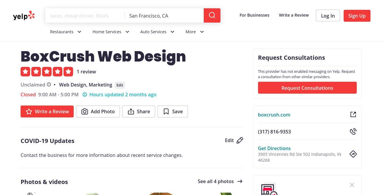 yelp BoxCrush Web Design yelp