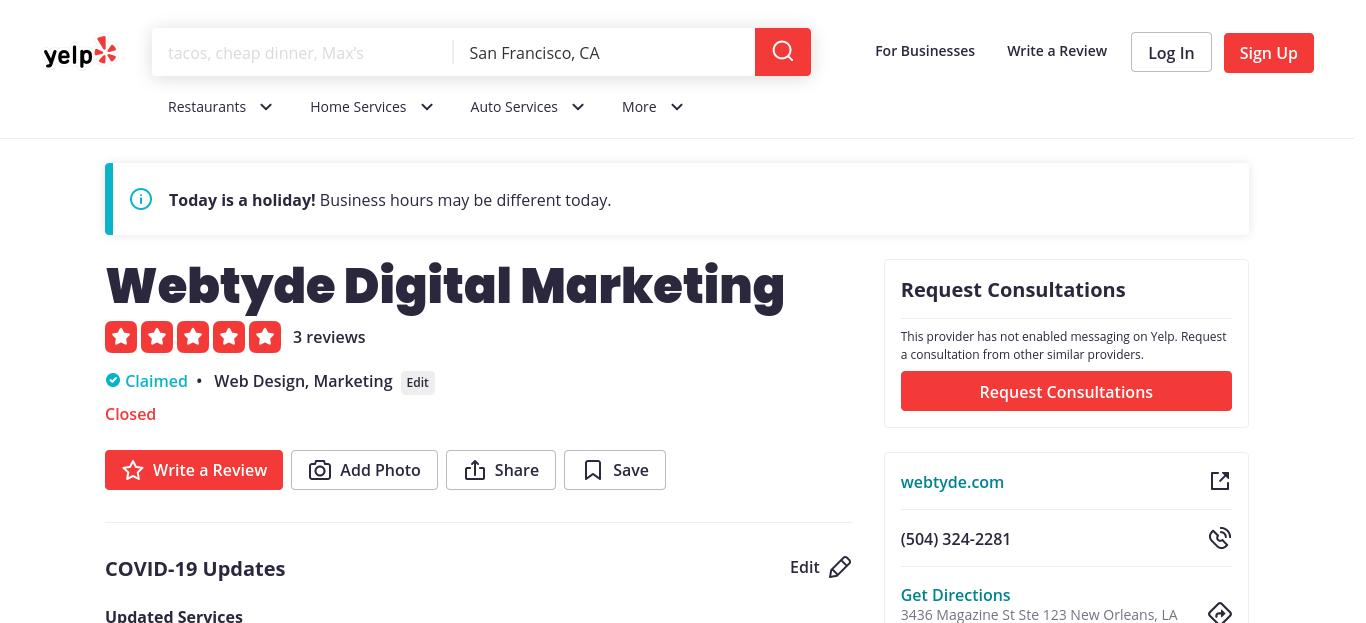 yelp Webtyde Digital Marketing yelp