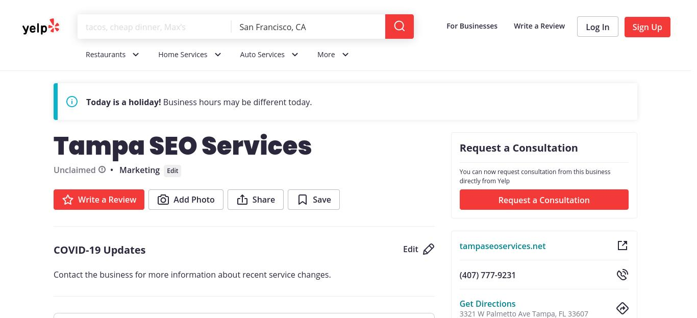 Tampa SEO Services yelp profile