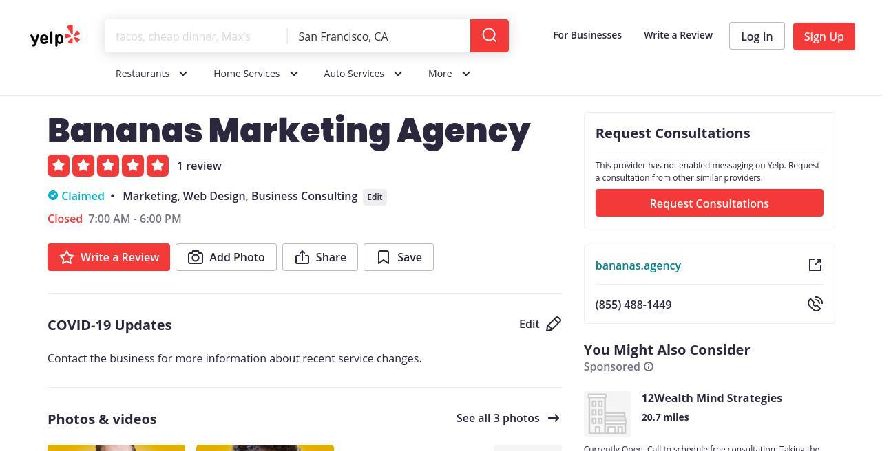yelp Bananas Marketing Agency yelp
