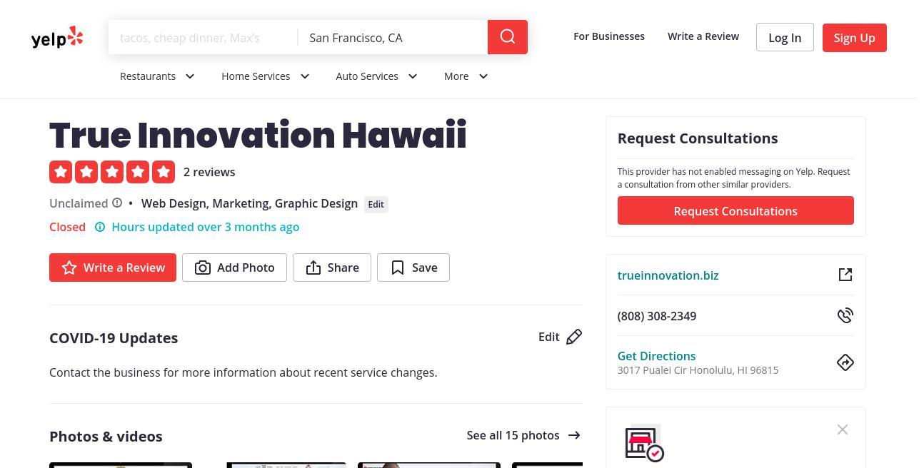 yelp True Innovation Hawaii yelp