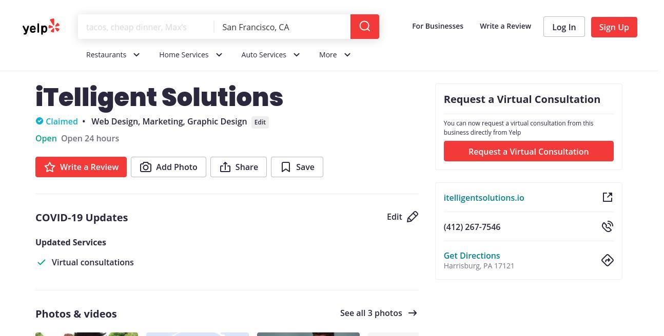 yelp iTelligent Solutions yelp