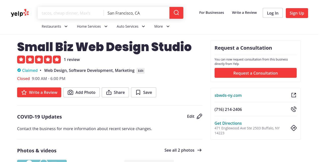 yelp Small Biz Web Design Studio yelp