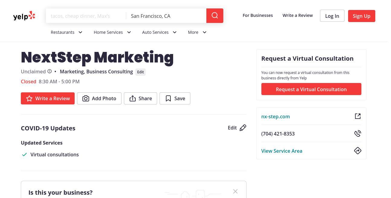 yelp NextStep Marketing yelp